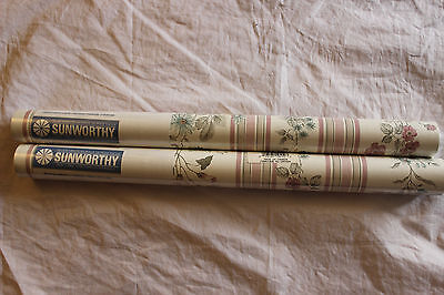 2 Double Rolls Sunworthy Prepasted Wall Paper 55.4 Sf Ea Floral Strippable Vinyl