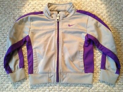 Nike Toddler Boys Girls Zipper Jacket Size 3T purple gray athletic polyester