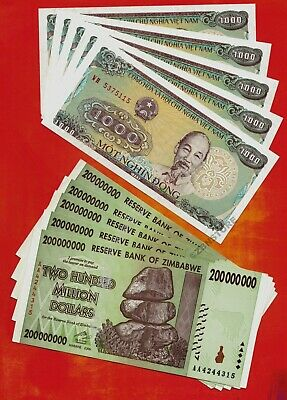5 x 200 Million Zimbabwe Dollars + 5 x 1,000 Vietnam Dong Banknotes ~ XF to aUNC