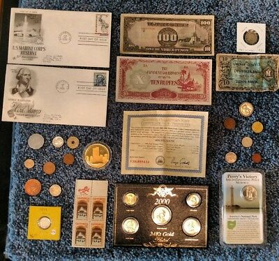 Junk Drawer Lot: Old U.S. Coins 1877+, Ground Zero Silver, 24k Gold Plated Set++