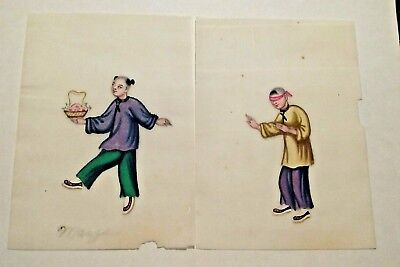Chinese Watercolor On Pith/rice Paper (2) Late 19Th Century