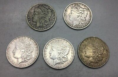 Mix lot Of 5 Silver Morgan Dollars!!!!