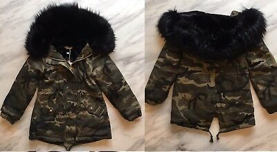 New Girls Khaki Camouflage Parka Coat With Black Faux Fur Age 7-8 Years
