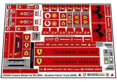 Lego® Custom Pre-Cut Sticker for Racers Set 8654 - Scuderia Ferrari Truck (2005)