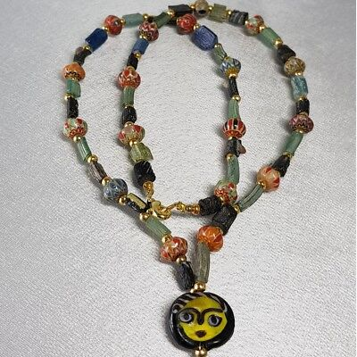 Ancient mixed Glass Wonderful Beads Lovely Necklace  #i1