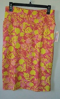 LulaRoe Cassie Skirt Knee Lenght Orange Yellow floral Size Medium
