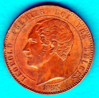 N:104  10 Centimes Léopold I 1853  Mariage Large Date  Cuivre