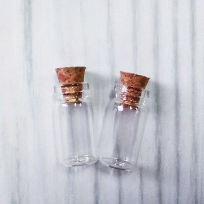 1ml Clear Glass Bottles with Cork Tiny Empty Jars Small Mini Message Vials 1ml