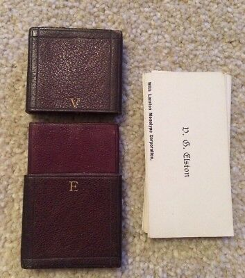Antique Lanston Monotype Employee Vg Elston Business Card Leather Holder & Cards