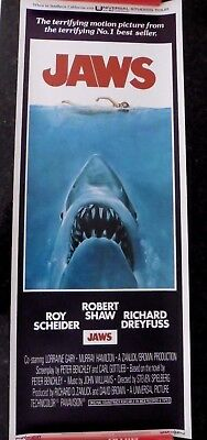 JAWS 1975 Movie Poster Insert 14 x 36 Delivered rolled no folds