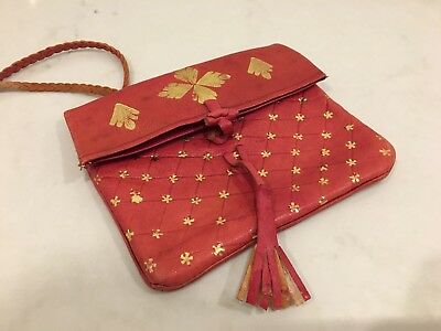 Vintage Retro Red Genuine Leather Purse Bag Gold Detail Pattern