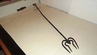 "Antique Victorian wrought iron 29"" four-tined toasting fork."