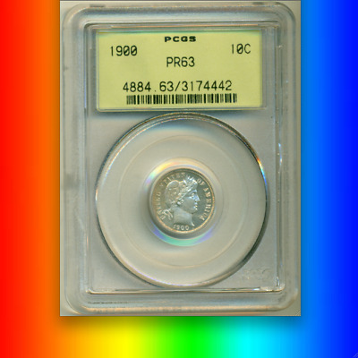 1900 PCGS PR63 Green Label LOOKS PR64 Only 912 Minted! PQ+ PROOF Barber Dime 10C