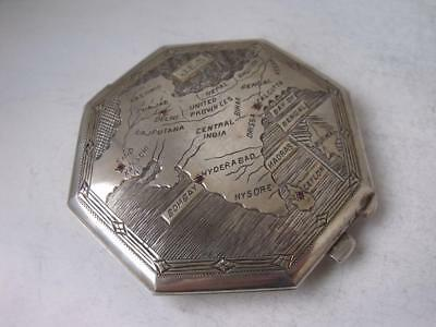 """Unusual """"Indian Map"""" Sterling Silver Compact/ Dia 7.5 cm"""