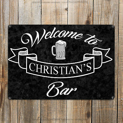 PERSONALISED BAR Metal Sign MAN CAVE Door Wall Garage Shed Den Landlord Plaque