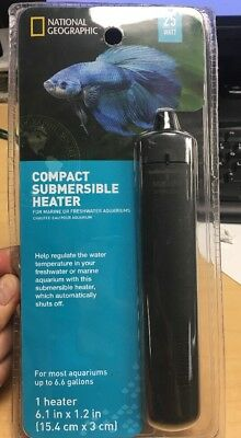 National Geographic 25W Aquarium Heater Compact Submersible Marine Or Freshwater