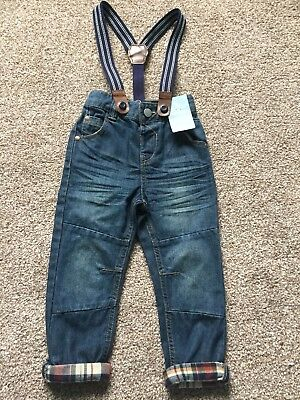 BNWT TU Baby Boy Turn Up Jeans With Braces 18-24 Months / 1.5-2 Years Toddler