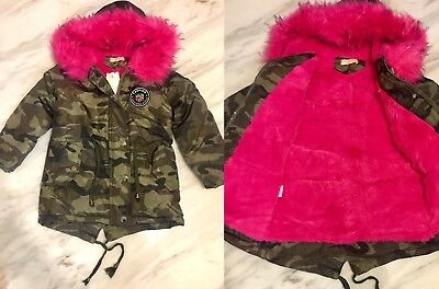 New Girls Khaki Camouflage Parka Coat With Hot Pink Faux Fur Age 3-4 Years