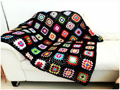 Crochet Blanket Colorful Granny Square Afghan Throw Living Room Home Decor Gift