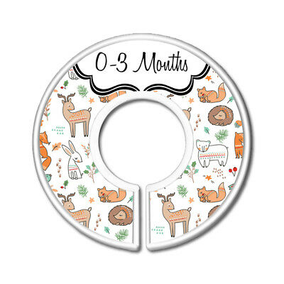 Woodland Animals Nursery Closet Dividers, Baby Clothes Size Organizer, Set of 11