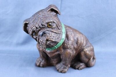 Vintage Syroco Wood Carving Sitting Bulldog 7 Inch Door Stop Figure