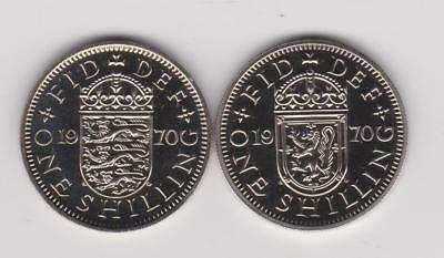1970 Proof  England (UK) 1 Shilling English & Scottish Crest ~ Last Year 2 Coins