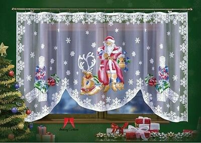 Amazing White Jardiniere Net Curtain with Santa Father Christmas Pattern 300x150