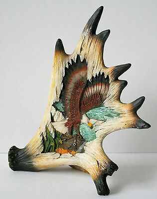 Carved ANTLER with EAGLE Scene Figurine Statue  NEW