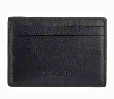 NWT Coach Men's Money Clip Card Holder Case Wallet Leather Black F75459 $95