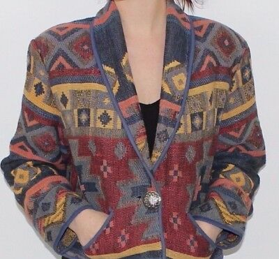 Ladies Woven Cotton Tapestry Style Jacket 12 Rich Aztec Colours Hippy Boho