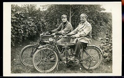 Real Photo Rppc Postcard Indian Motorcycle 1912 #1  2 Young Men On Motorcycles