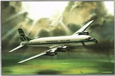 Transavia Holland DC-6 Airline Issue. Aviation Airplane Postcard