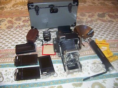 Vintage GRAFLEX  Crown Graphic 105 mm Camera W/case Film Holders Flash Complete
