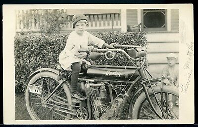 Real Photo Rppc Postcard Cute Little Boy On An Indian Motorcycle 1912 #4
