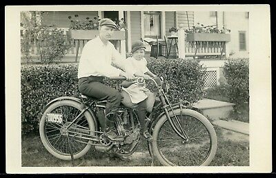 Real Photo Rppc Postcard Father And Son On An Indian Motorcycle 1912 #5