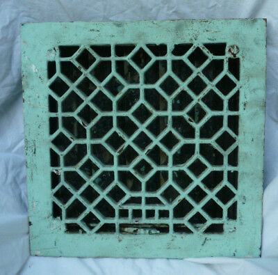 Antique Cast Iron Square Art Deco Diamond Web Design Floor Grate Heat Register