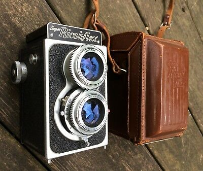 Super Ricohflex Ricoh TLR Camera w Twin 1:3.5/8cm C Anastigmat Lens w Leather Ca