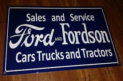 Vintage Ford Fordson Metal Sign Porcelain Like Cars Trucks Tractors Farm Style