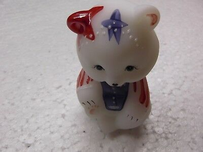 Hand Painted Fenton Stars & Stripes 2001 Bear Signed with Original Paper Sticker