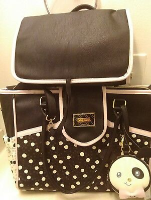 New Womens Betsey Johnson Weekender Polka Dot  Diaper Bag With Changing Pad