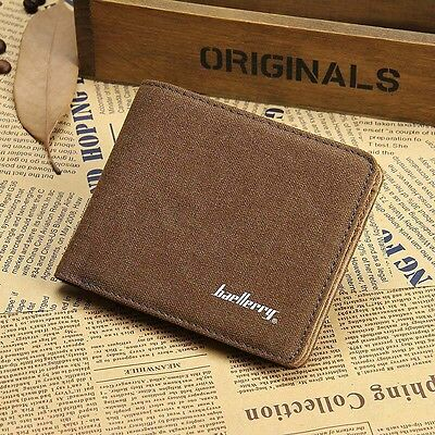 Pockets Credit/ID Card Holder Canvas Clutch Bifold Short Mens Purse Wallet QWW