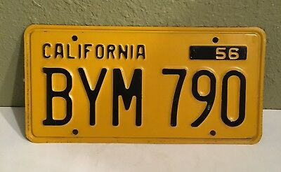 1956 California License Plate # BYM 790 Good Condition And Color