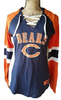 ce3f3ac97 Chicago Bears Women Lace Up Majestic NFL Top Long Sleeve New Medium Raglan  Shirt