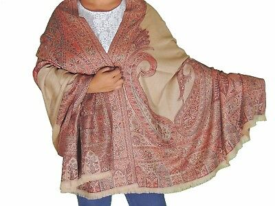 Desert Sand Paisley Fashion Shawl Wool Ladies Evening Wrap Afghan Big Scarf 80""