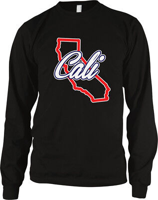 Cali State Outline California Script Red Born Raised From CA Love Men's Thermal