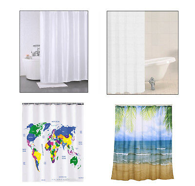 Shower Curtain Polyester With 12 Rings Machine Washable Bathroom Curtains