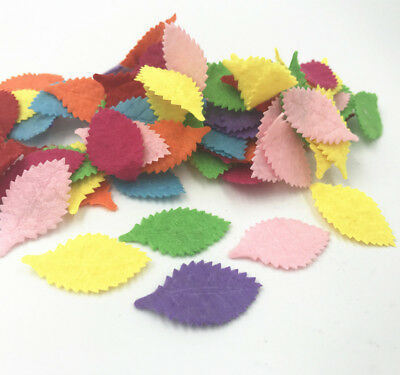100pcs Leaves-shape Felt Card making decoration applique Mixed Colors 31mm
