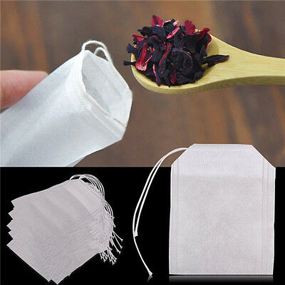 100x Empty Teabags String Heat Seal Filter Paper Herb  Loose Tea Bags Teabag YA