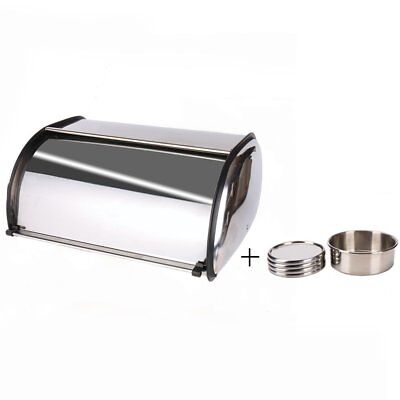X459S Stainless Steel Bread Box/Bin/kitchen Storage /Coasters and Roll Top Lid