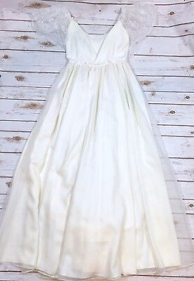 Vintage 70s Off-White Wedding Dress Gown Tiered Back Fits Womens XS 0/2